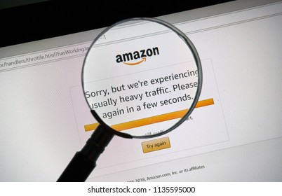 MONTREAL, CANADA - JULY 16, 2018 : Amazon prime day site heavy traffic and technical problem message. Amazon Prime Day is the retailer's big members-only summer sale in month of July each year.