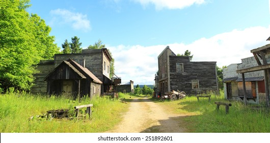 MONTREAL, CANADA - JULY 17, 2015: Canadiana village is a reproduction of ancient canadian village with bank, saloon, house and post office.