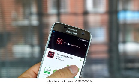 MONTREAL, CANADA - JULY, 2016 : Adobe Capture CC application on Samsung s7 screen. The app combines three different tools from Adobe: Adobe Color CC, Adobe Brush CC, and Adobe Photoshop Mix.
