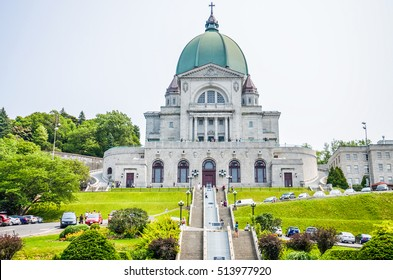 Montreal, Canada - July 25, 2014: Saint Joseph's Oratory of Mount Royal with steps and people