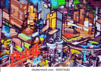 MONTREAL CANADA JULY 25 2015: Street art paint Montreal is the perfect place to walk in the back alleys and abandoned areas, looking for street art.