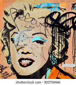MONTREAL CANADA JULY 25 2015: Street art Montreal Marilyn Monroe . Montreal is the perfect place to walk in the back alleys and abandoned areas, looking for street art.