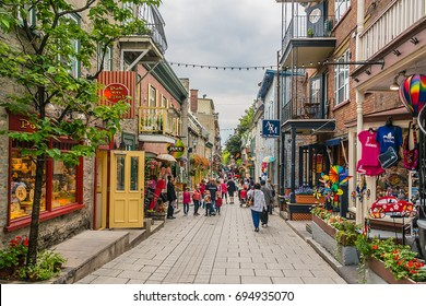 MONTREAL, CANADA - JULY 27, 2014: View of Old Montreal street, province of Quebec.