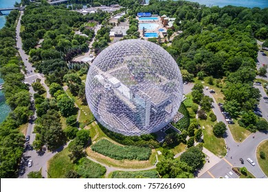 Montreal, Canada - July 3: Aerial view of Montreal Biosphere environment museum at Parc Jean-Drapeau in Montreal, Quebec, Canada.