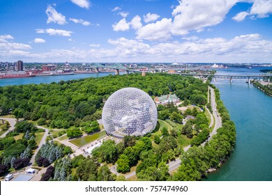 Montreal, Canada - July 3: Aerial view of Montreal cityscape including the Biosphere geodesic dome and Jacques Cartier bridge in Montreal, Quebec, Canada.
