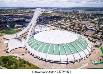Montreal, Canada - July 3: Aerial view of the Montreal Olympic Stadium and inclined tower in Montreal, Quebec, Canada.