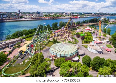 Montreal, Canada - July 3: Aerial view of La Ronde Amusement Park in Montreal, Canada.