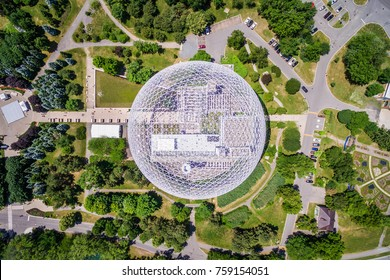 Montreal, Canada - July 3: Top view of Montreal Biosphere environment museum at Parc Jean-Drapeau in Montreal, Quebec, Canada.