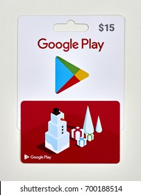 MONTREAL, CANADA - JULY 30, 2017 : Google play gift cards on a white background.