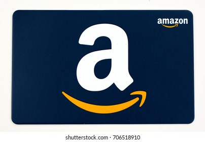 MONTREAL, CANADA - JULY 30, 2017 : Amazon gift card on a white background