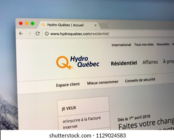 Montreal, Canada- July 7, 2018: Website of Hydro-Québec, a public utility that manages the generation, transmission and distribution of electricity in Quebec.