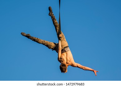 Montreal, Canada - July 8 2019: Aerial art Acrobat public show in Montreal