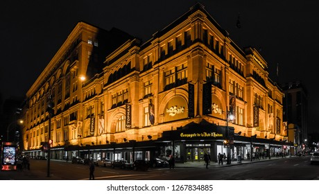 Montreal / Canada - July 9, 2016: The Hudson's Bay Company store at night, wide