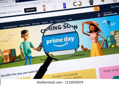 MONTREAL, CANADA - JUNE 10, 2018 : Amazon prime day page on official amazon site under magnifying glass. Amazon Prime Day is the retailer's big members-only summer sale in month of July each year.