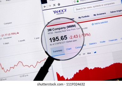 MONTREAL, CANADA - JUNE 10, 2018: 3M Company ticker with charts under magnifying glass