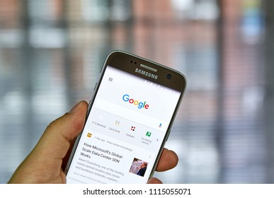 MONTREAL, CANADA - JUNE 2, 2018: Google search on mobile phone. Google Search is a web search engine developed by Google.