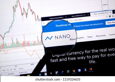 MONTREAL, CANADA - JUNE 20, 2018: Nano crypto currency home page. Cryptocurrency is a digital currency in which encryption techniques are used to generate and transfer funds. Site - nano.org