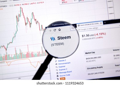 MONTREAL, CANADA - JUNE 20, 2018: Steem crypto currency price under magnifying glass. Cryptocurrency is a digital currency in which encryption techniques are used to generate and transfer funds.