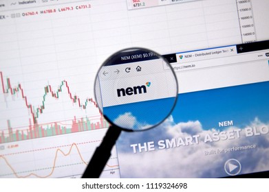 MONTREAL, CANADA - JUNE 20, 2018: Nem crypto currency home page. Cryptocurrency is a digital currency in which encryption techniques are used to generate and transfer funds. Site - nem.io
