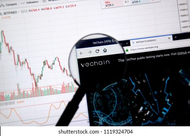 MONTREAL, CANADA - JUNE 20, 2018: Vechain crypto currency home page. Cryptocurrency is a digital currency in which encryption techniques are used to generate and transfer funds. Site - vechain.org