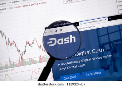 MONTREAL, CANADA - JUNE 20, 2018: Dash crypto currency home page. Cryptocurrency is a digital currency in which encryption techniques are used to generate and transfer funds. Site - dash.org