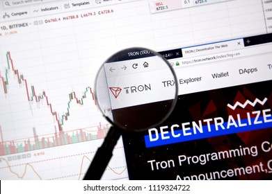 MONTREAL, CANADA - JUNE 20, 2018: Tron crypto currency home page. Cryptocurrency is a digital currency in which encryption techniques are used to generate and transfer funds. Site - tron.network