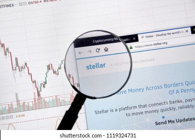 MONTREAL, CANADA - JUNE 20, 2018: Stellar crypto currency home page. Cryptocurrency is a digital currency in which encryption techniques are used to generate and transfer funds. Site - stellar.com