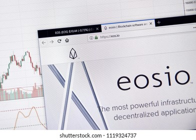 MONTREAL, CANADA - JUNE 20, 2018: Eos crypto currency home page. Cryptocurrency is a digital currency in which encryption techniques are used to generate and transfer funds. Site - eos.io