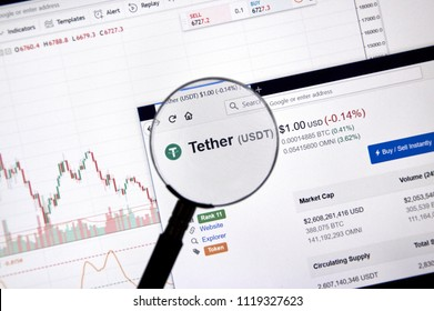 MONTREAL, CANADA - JUNE 20, 2018: Tether crypto currency price under magnifying glass. Cryptocurrency is a digital currency in which encryption techniques are used to generate and transfer funds.