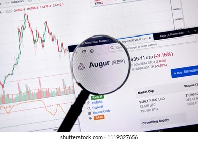 MONTREAL, CANADA - JUNE 20, 2018: Augur crypto currency price under magnifying glass. Cryptocurrency is a digital currency in which encryption techniques are used to generate and transfer funds.