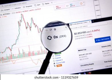 MONTREAL, CANADA - JUNE 20, 2018: 0x Protocol crypto currency price under magnifying glass. Cryptocurrency is a digital currency in which encryption techniques are used to generate and transfer funds