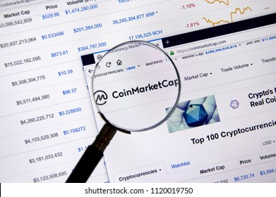 MONTREAL, CANADA - JUNE 20, 2018: Coin Market Cap home page. Site - coinmarketcap.com Cryptocurrency is a digital currency in which encryption techniques are used to generate and transfer funds.