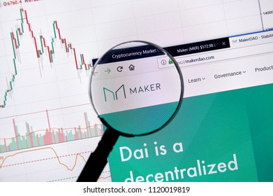 MONTREAL, CANADA - JUNE 20, 2018: Maker crypto currency home page. Cryptocurrency is a digital currency in which encryption techniques are used to generate and transfer funds. Site - makerdao.com