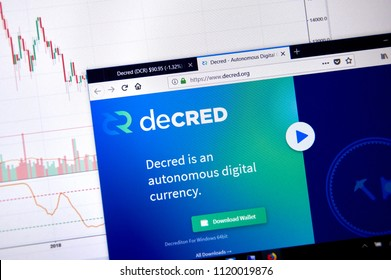 MONTREAL, CANADA - JUNE 20, 2018: Decred crypto currency home page. Cryptocurrency is a digital currency in which encryption techniques are used to generate and transfer funds. Site - decred.org