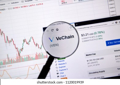 MONTREAL, CANADA - JUNE 20, 2018: Vechain crypto currency price under magnifying glass. Cryptocurrency is a digital currency in which encryption techniques are used to generate and transfer funds.