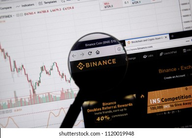 MONTREAL, CANADA - JUNE 20, 2018: Binance Coin crypto currency home page. Cryptocurrency is a digital currency in which encryption techniques are used to generate and transfer funds. Site  binance.com