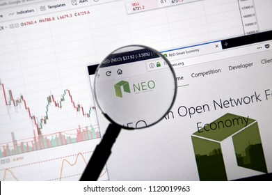 MONTREAL, CANADA - JUNE 20, 2018: Neo crypto currency home page. Cryptocurrency is a digital currency in which encryption techniques are used to generate and transfer funds. Site - neo.org