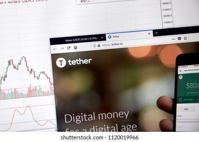 MONTREAL, CANADA - JUNE 20, 2018: Tether crypto currency home page. Cryptocurrency is a digital currency in which encryption techniques are used to generate and transfer funds. Site -tether.to