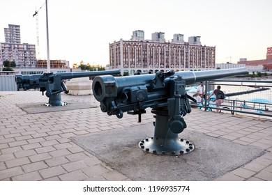 Montreal, Canada - June, 2018: Artillery cannon at old port clock tower (Quai de l'Horloge) in Montreal, Quebec, Canada. Editorial use.