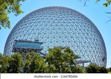 Montreal, Canada, June, 2018: Biosphere environment museum in Parc Jean Drapeau on Saint-Helen island in Montreal, Quebec, Canada.