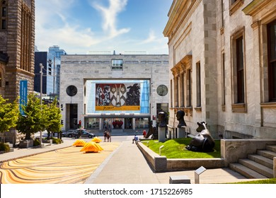 Montreal, Canada - June, 2018: Montreal museum of fine arts building exterior during Picasso exhibition in summer time in Montreal, Quebec, Canada.