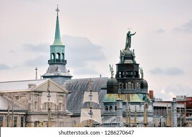 Montreal, Canada - June, 2018: Notre Dame de Bon Secours Chapel (chapelle Notre-Dame-de-Bon-Secours) in Montreal, Quebec, Canada. Editorial.