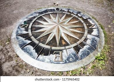 Montreal, Canada - June, 2018: Wind Rose compass on St. Helen Island in Montreal, Quebec, Canada. Rose des Vents sur l'Île Sainte-Hélène. Editorial use.