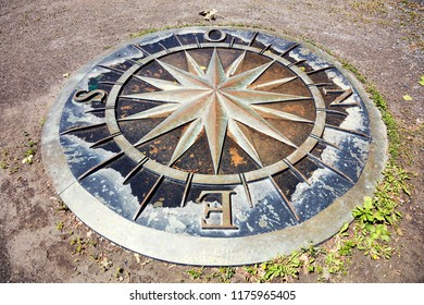 Montreal, Canada - June, 2018: Wind Rose compass on St. Helen Island in Montreal, Quebec, Canada. Rose des Vents sur l'Île Sainte-Hélène. Editorial use.