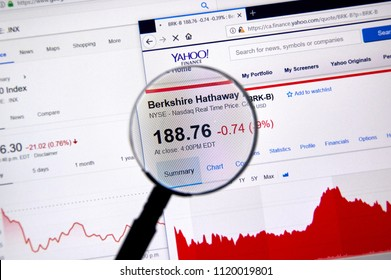 MONTREAL, CANADA - JUNE 22, 2018: Berkshire Hathaway BRK-B ticker with shares price and charts under magnifying glass on Yahoo Finance.