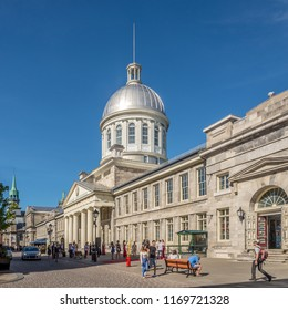 MONTREAL, CANADA - JUNE 22,2018 - View at the building of Market Bonsecours in Montreal. Some of the citys earliest still-standing buildings date back to the late 17th and early 18th centuries.