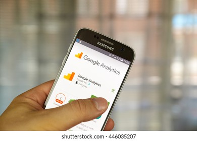 MONTREAL, CANADA - JUNE 23, 2016 : Google analytics application on Samsung S7 screen. Google Analytics is a freemium web analytics service offered by Google that tracks and reports website traffic.