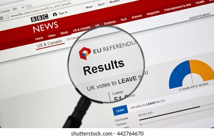 MONTREAL, CANADA - JUNE 24, 2016 : Brexit results on BBC news site under magnifying glass. The Brexit, an abbreviation of 'British exit' refers to the possibility of Britain's withdrawal from the EU