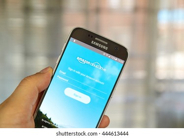 MONTREAL, CANADA - JUNE 24, 2016 : Amazon Cloud Drive application on Samsung S7 screen. Amazon Cloud Drive is a web storage application from Amazon.