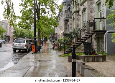 Montreal, Canada - June 24, 2018. Old Houses in Montreal downtown Suburb near Mont Royal central park in Canada